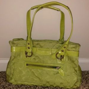 Signature green coach satchel